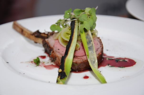 Pan fried Loin of Lamb with charred leeks & pickle green tomatoes